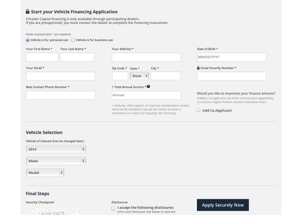 Chrysler Capital preapproved auto financing application