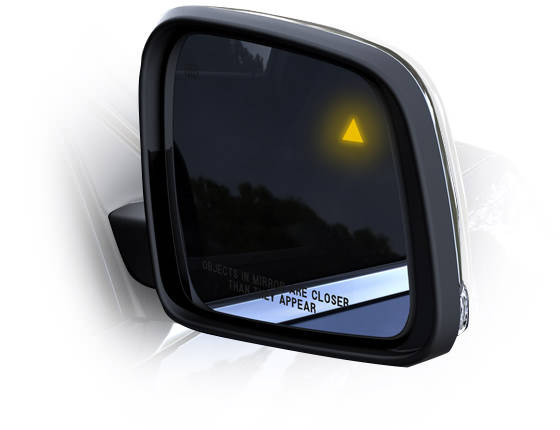 Blind spot warning on a 2015 Jeep Grand Cherokee.
