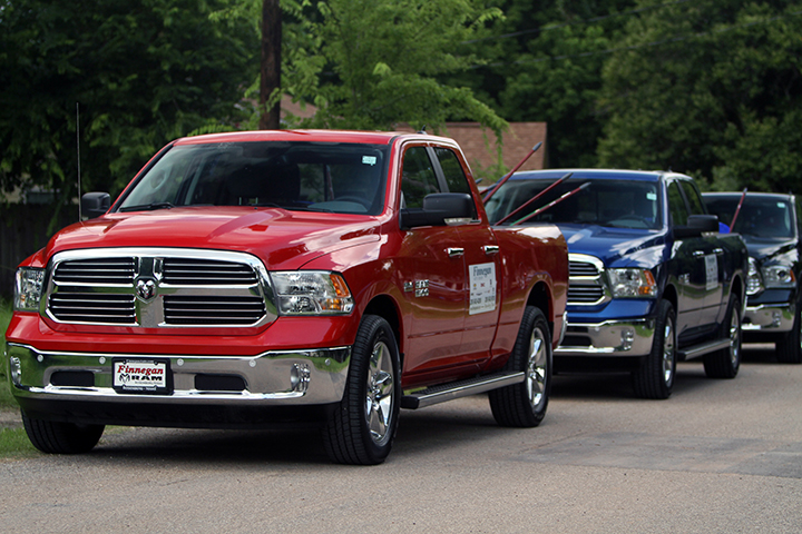 Ram trucks s were ready to take disaster supplies to affected residents in Rosenberg, Texas.