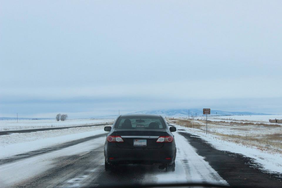 Vehicle on icy road