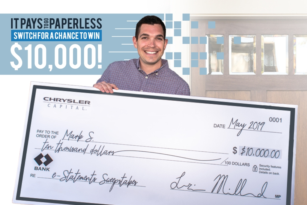 Sweepstakes winner Mark S. with giant check