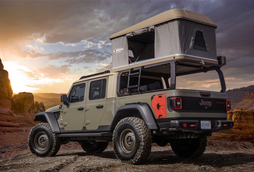 Jeep Wayout rear view with tent
