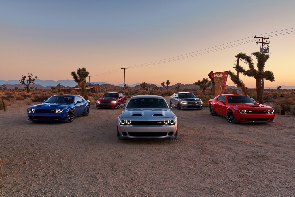 Line of Dodge SRT vehicles in desert