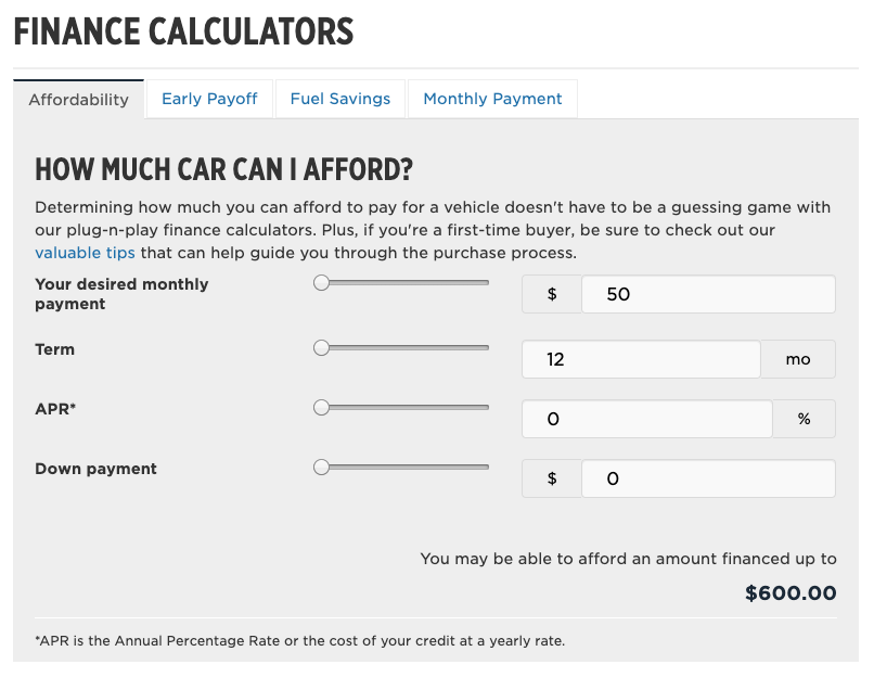Finance calculator car budget