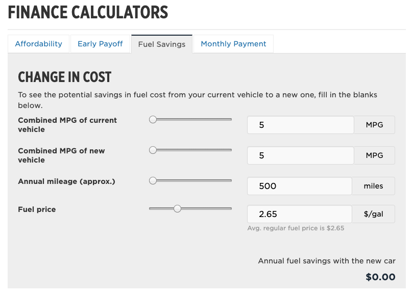 Finance calculator car fuel savings