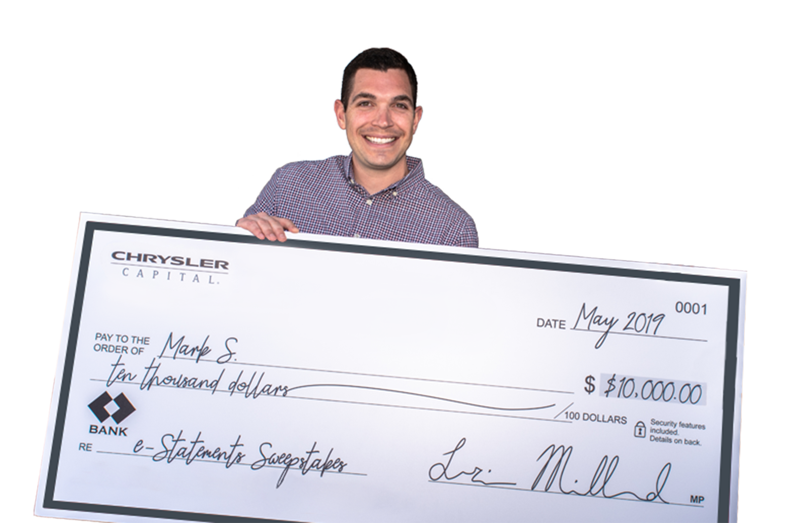 Previous winner holding check