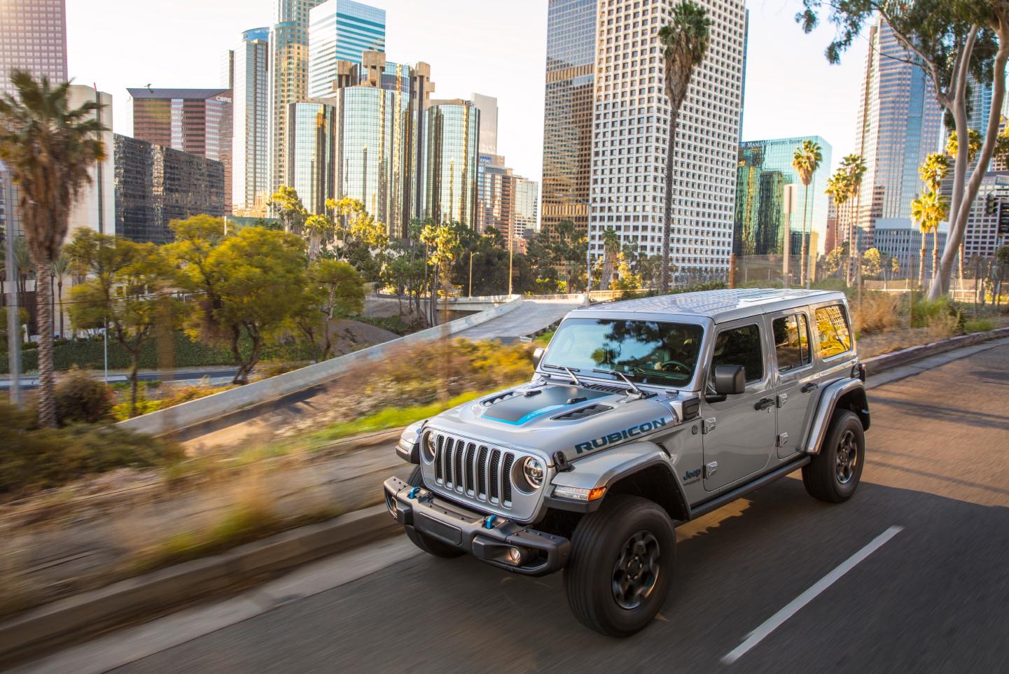 Jeep Wrangler 4xe on city highway